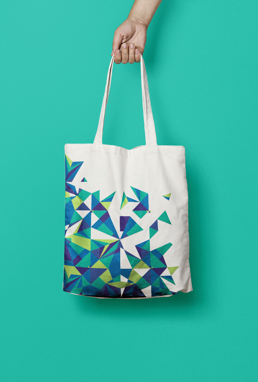Peacock deconstructed origami tote bag